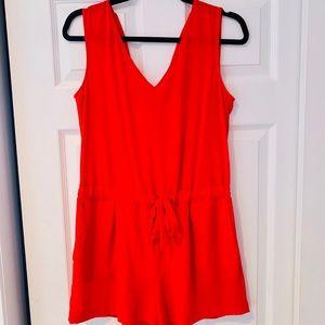 Zara Basic Tie Waist Tank Romper Red